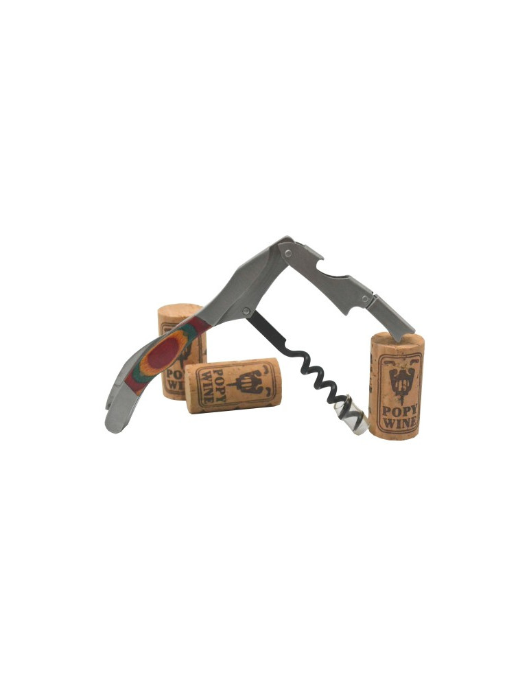 sacacorchos serie limitda acero madera 2 impulsos 1 palanca